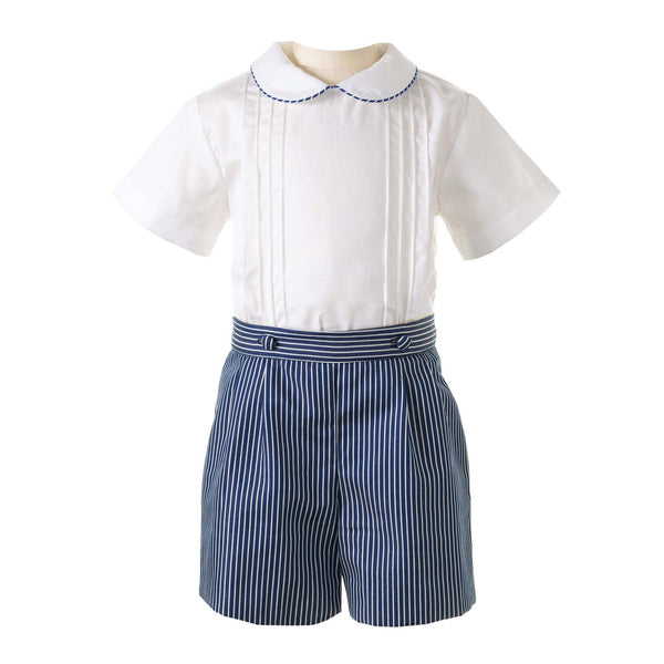 Pintuck Shirt & Striped Short Set
