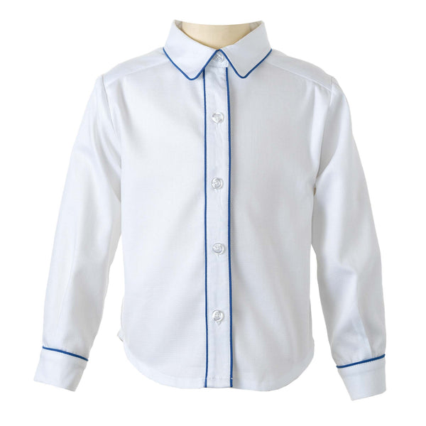 Blue Piped Pique Shirt