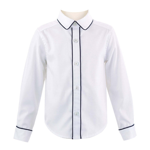 Navy Piped Pique Shirt