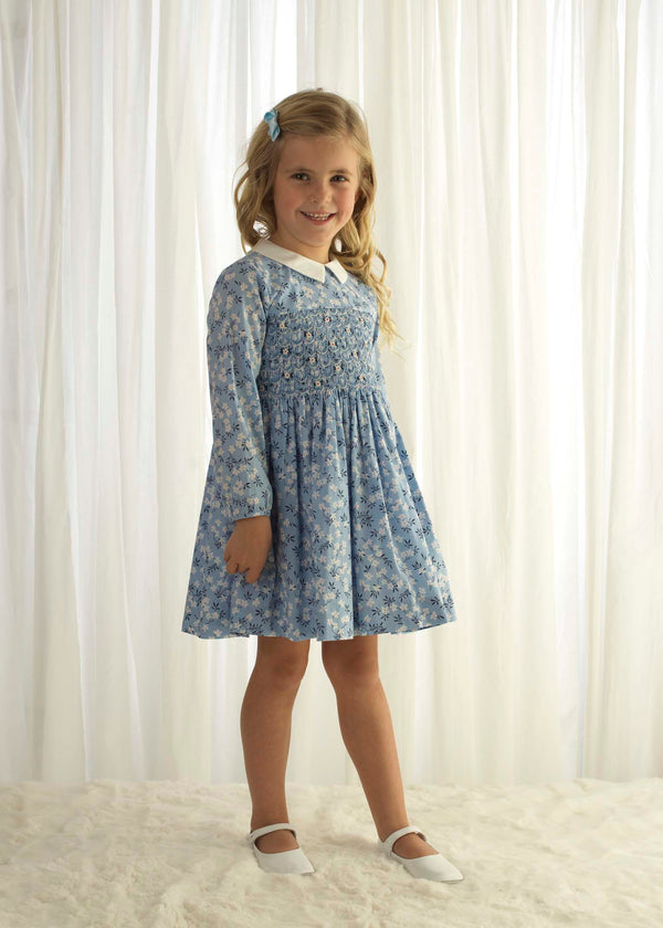Blue Blossom Smocked Dress