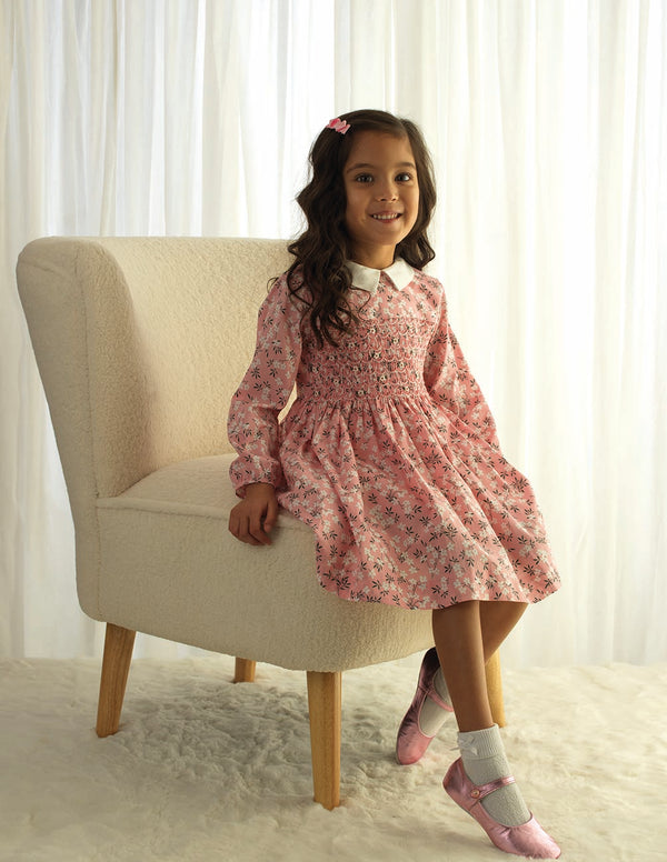 Pink Blossom Smocked Dress