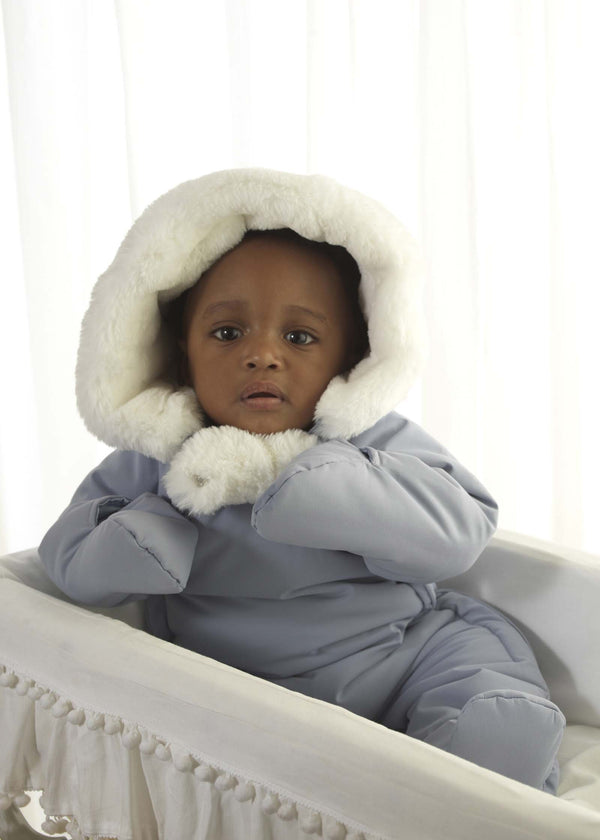 Blue Faux Fur Trim Snowsuit