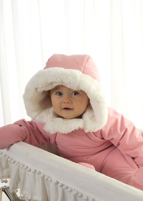 Pink Faux Fur Trim Snowsuit