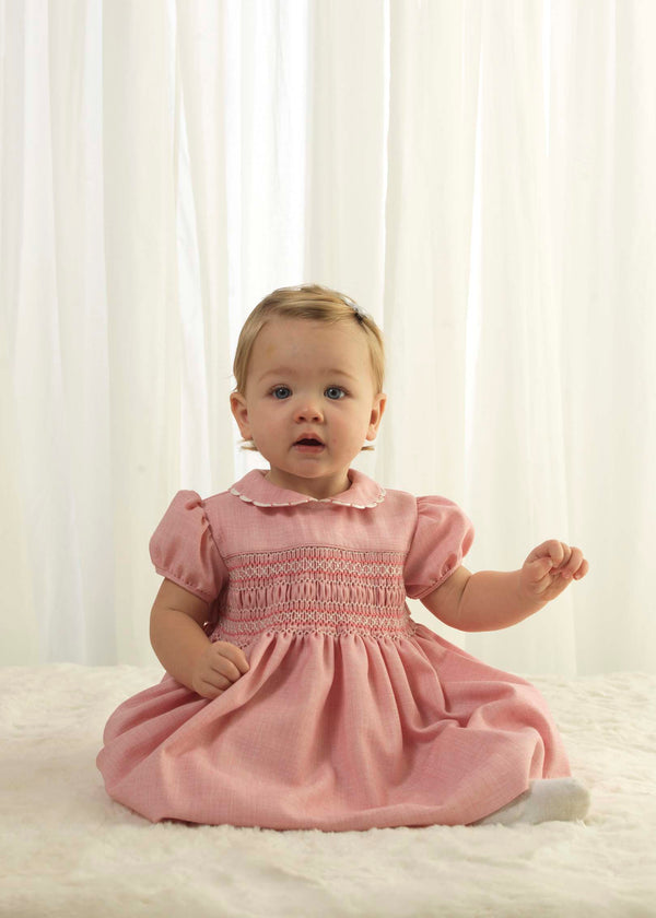 Scalloped Trim Smocked Dress