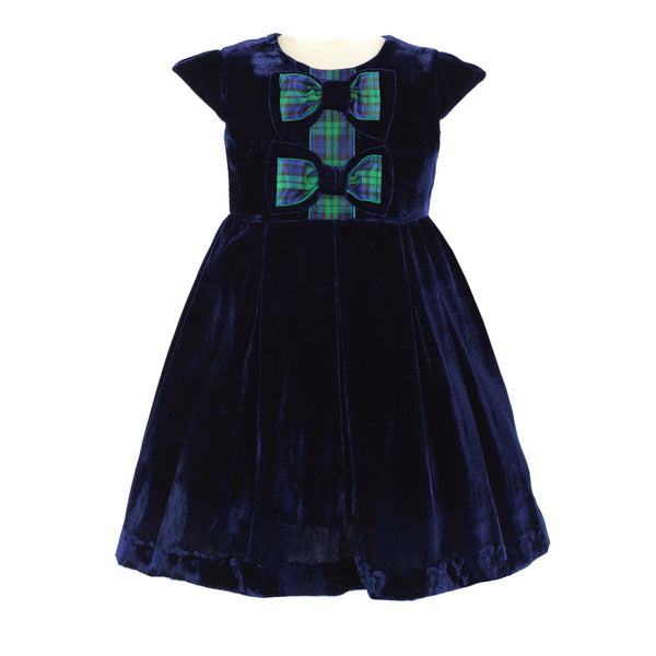 Tartan Bow Velvet Dress