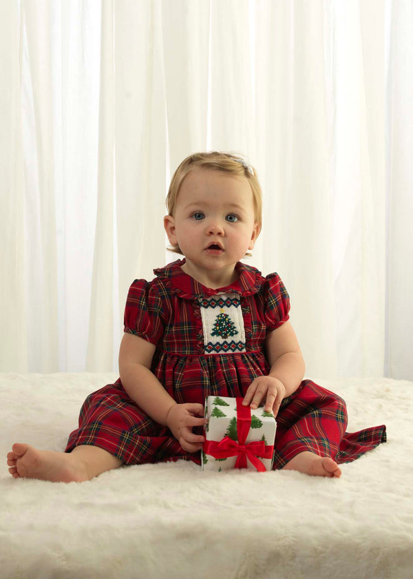 Christmas Tree Smocked Dress & Bloomers