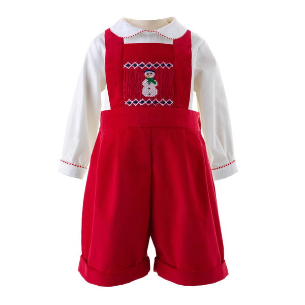 Snowman Smocked Dungarees Set