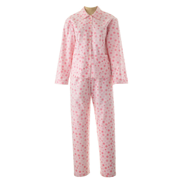 Ladies Snowflake Brushed Cotton Pyjamas