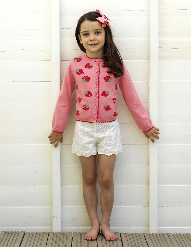 Strawberry Intarsia Cardigan