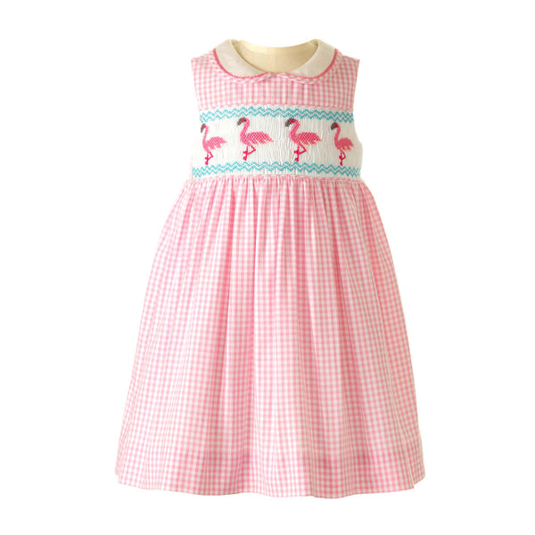 Flamingo Smocked Dress & Bloomers