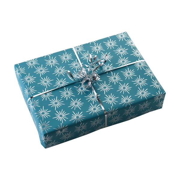 Blue Retro Star Wrapping Paper & Silver Ribbon