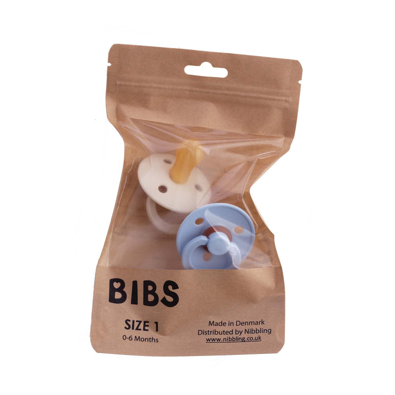 Bibs Twin Dummy Pack Size 1 – Ivory/Blue