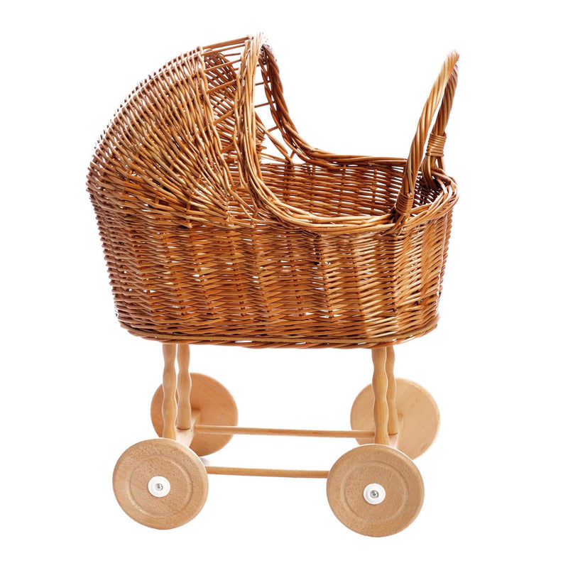 Dolly Wicker Pram with bedding small