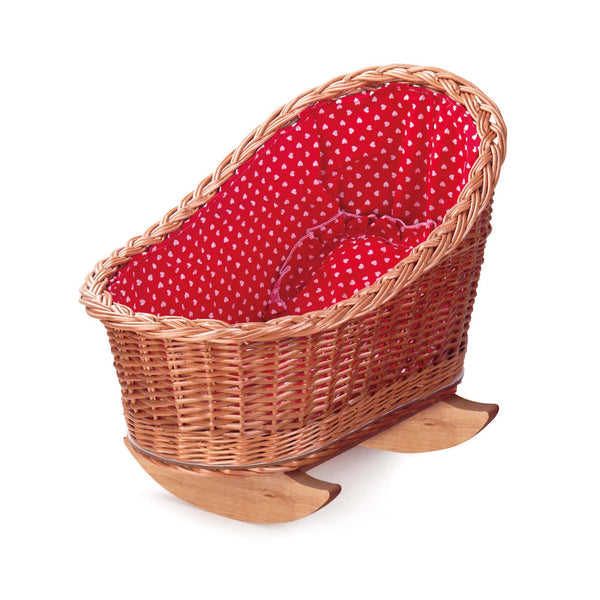 Dolly cradle with red & white heart lining