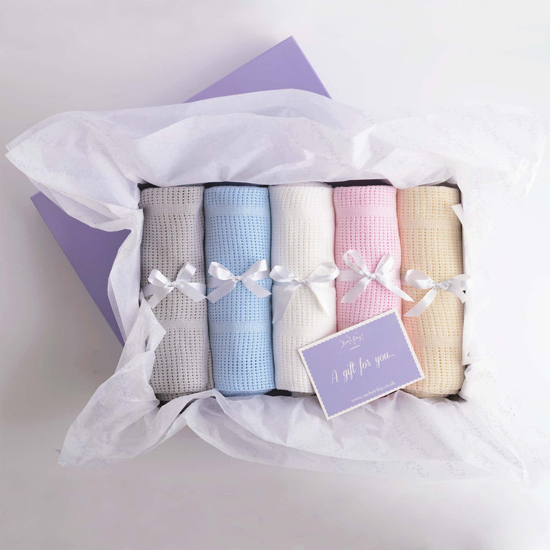x5 Pack Gift Box Set of Cellular Cot Blankets