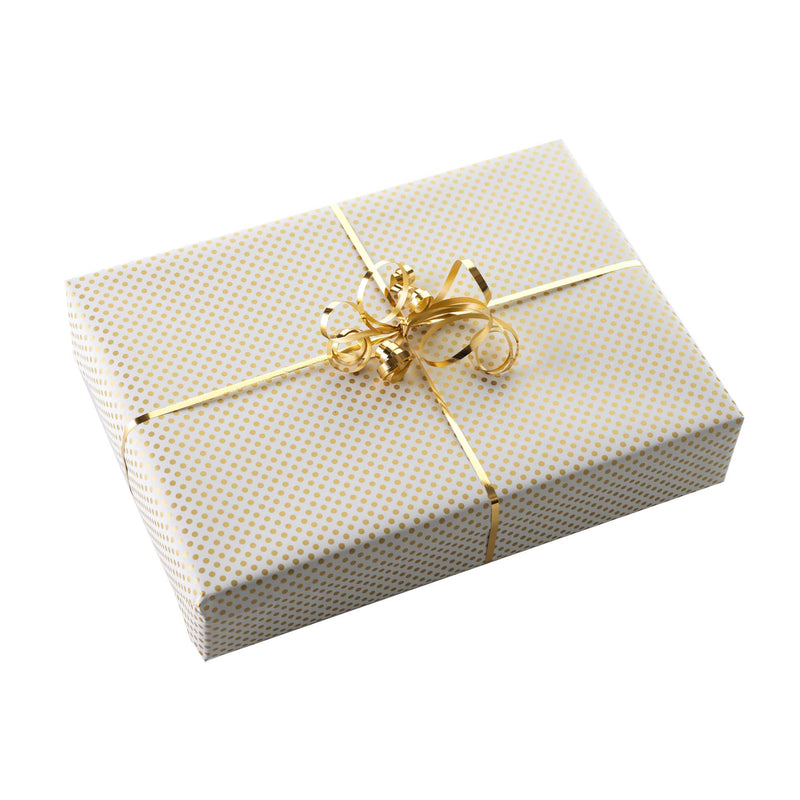 Gold Polka Dot Wrapping Paper & Gold Ribbon