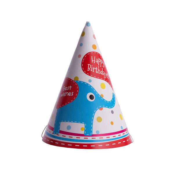 birthday hat, party hat, elephant print, party, decoration, birthday, happy