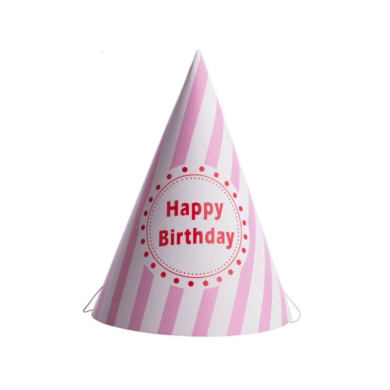 Striped Happy Birthday Hat Pink