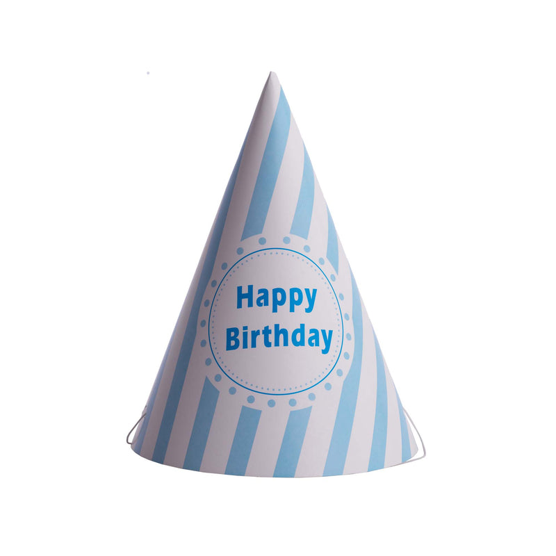 Striped Happy Birthday Hat Blue