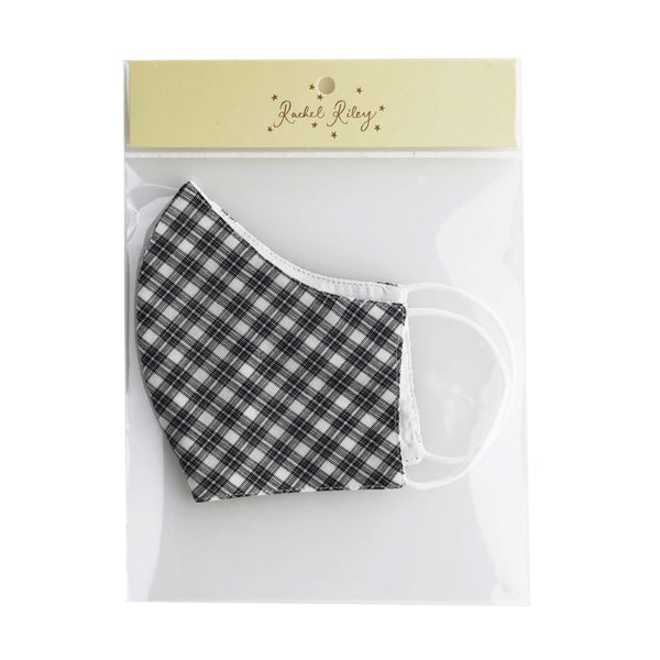 Grey Check Face Mask, Men's