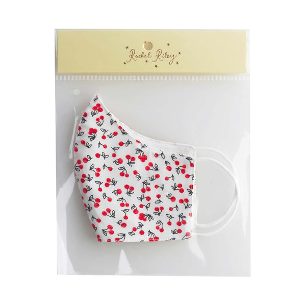 Ivory Cherry Print Face Mask, Women's