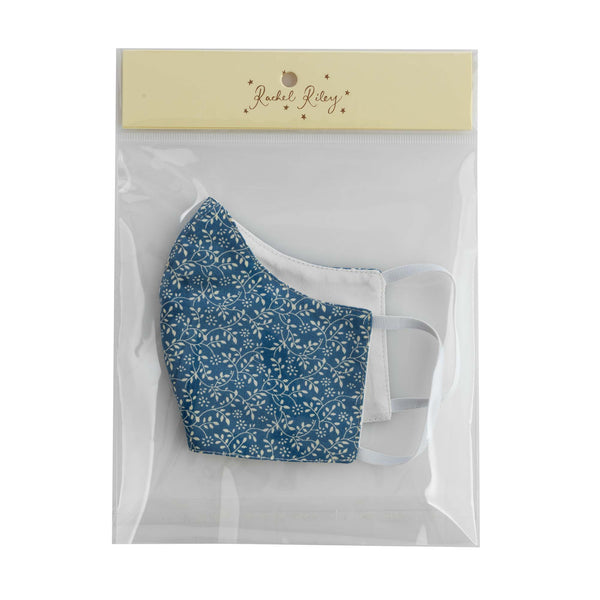 Blue Ditsy Floral Print Face Mask, Women's