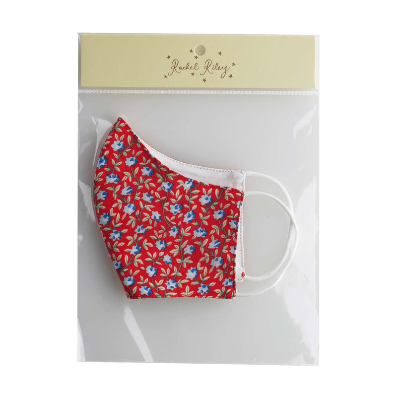 Red Floral Print Face Mask, Women's