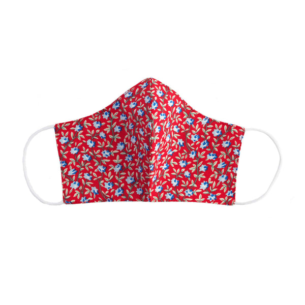 Red Floral Print Face Mask, Children's