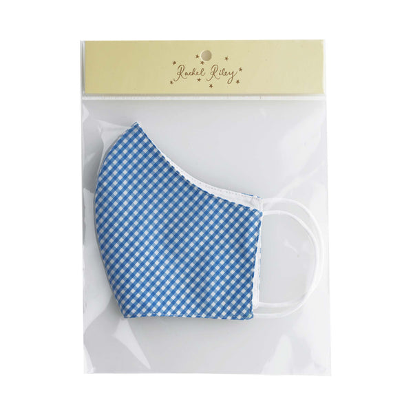 Blue Gingham Face Mask, Women's