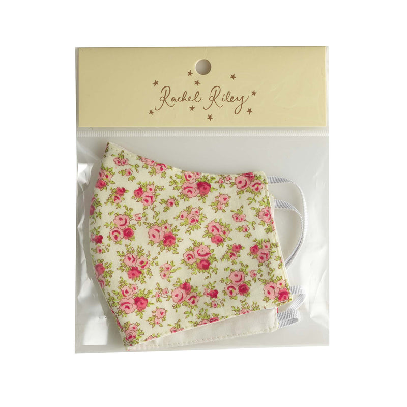 Cream Floral Print Face Mask, Children's