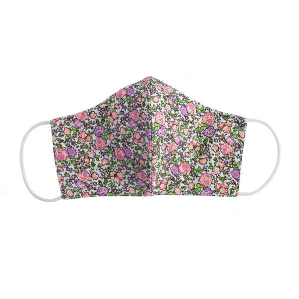 Pink Floral Print Face Mask, Children's