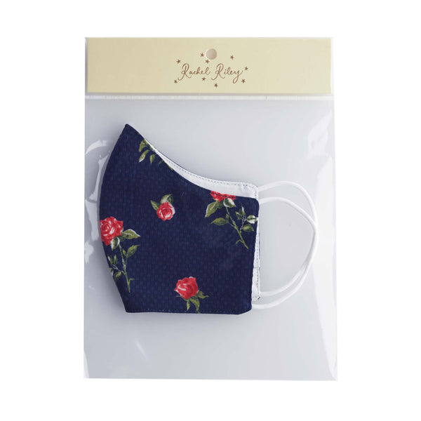Navy Rose Print Face Mask, Children's