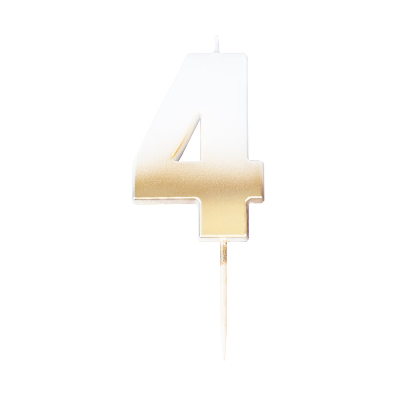 birthday candle, four, number, gold candle, birthday, party, decoration
