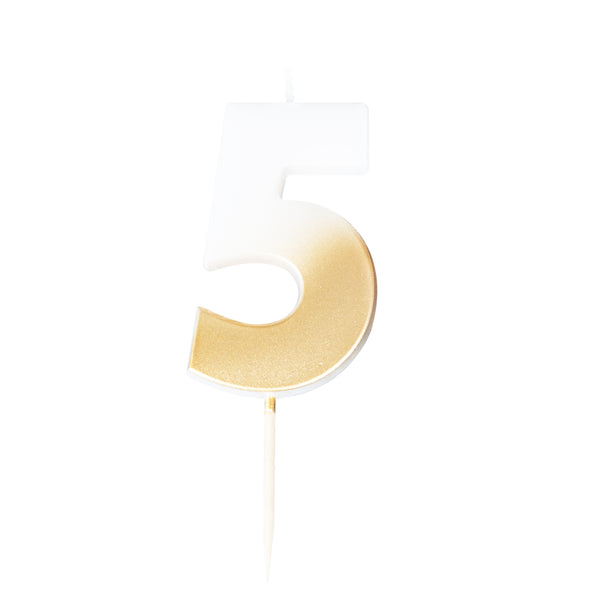birthday candle, five, number, gold candle, birthday, party, decoration
