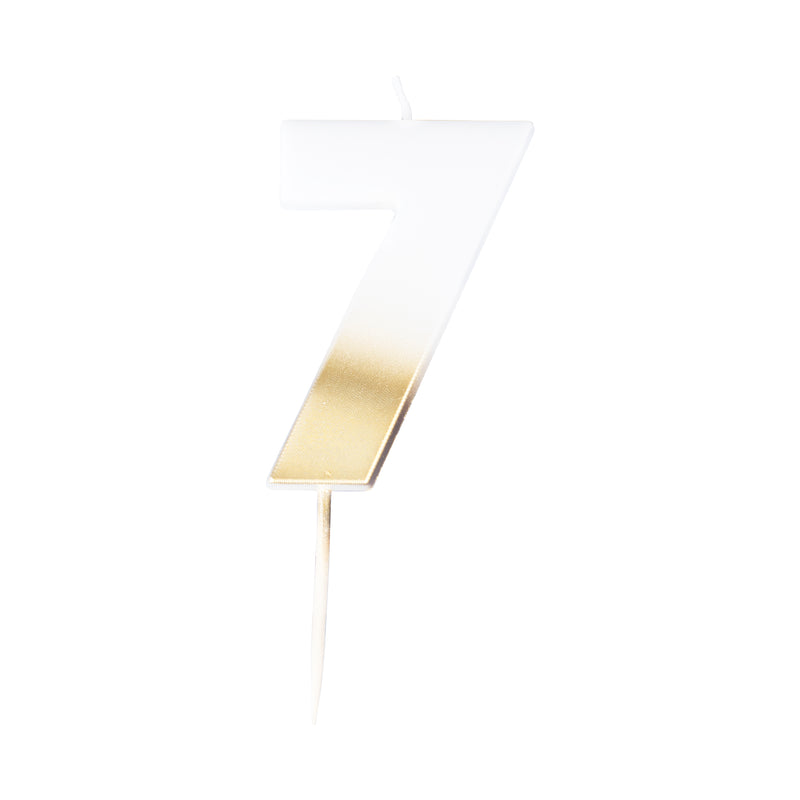 birthday candle, seven, number, gold candle, birthday, party, decoration