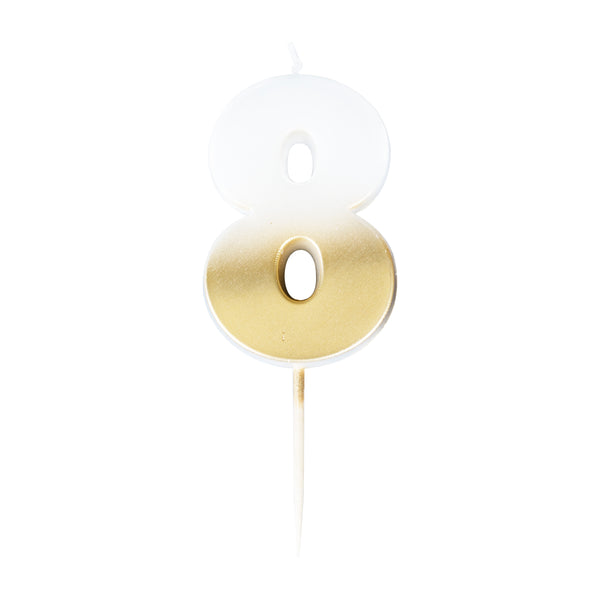 birthday candle, eight, number, gold candle, birthday, party, decoration