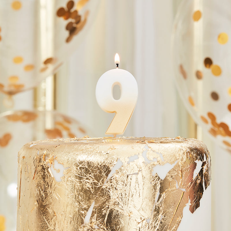birthday candle, nine, number, gold candle, birthday, party, decoration