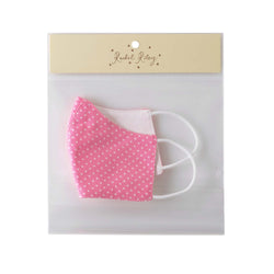 Pink Polka Dot Print Face Mask, Children's