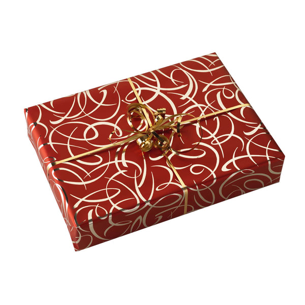 Red & Gold Swirl Wrapping Paper & Gold Ribbon