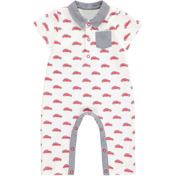 car collared babygro, car print, baby boy babygro, red, grey, Rachel Riley babygro, onesie, essential, occasion wear, casual wear