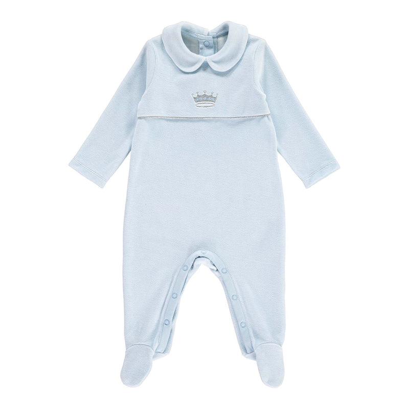 Prince Embroidered Velour Babygro