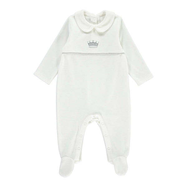 My Little One Embroidered Velour Babygro