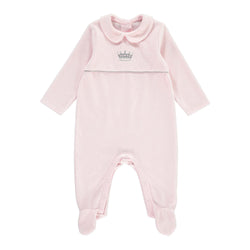 Princess Embroidered Velour Babygro