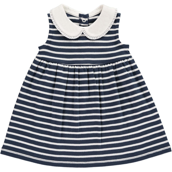 Breton Stripe Frill Collar Dress