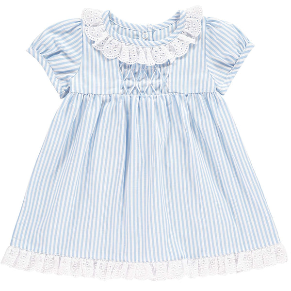 broderie trim, striped dress, baby girl dress, summer dress, Rachel Riley dress, blue, striped, baby