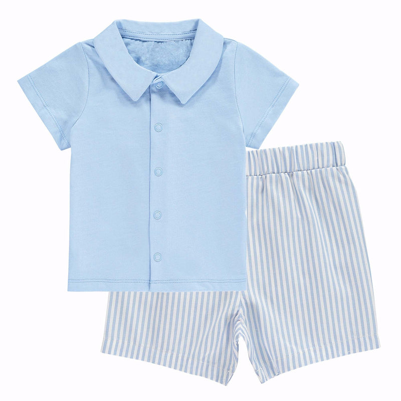 Striped Short & Jersey Shirt Set