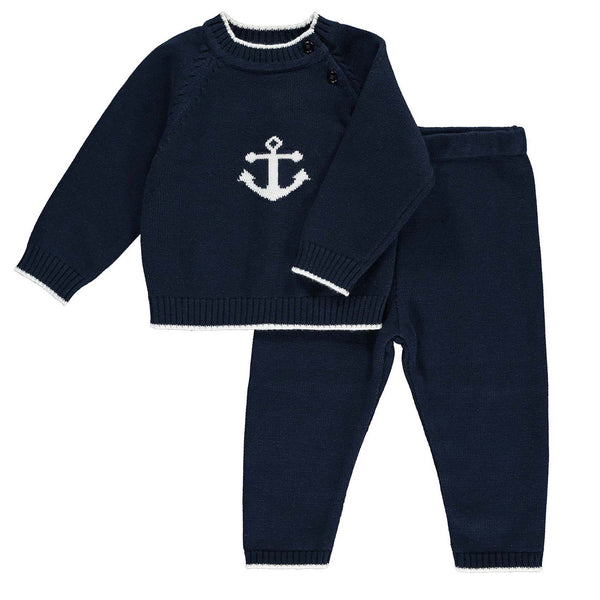 anchor sweater trouser set, anchor set, baby  boy knitwear, Rachel Riley set