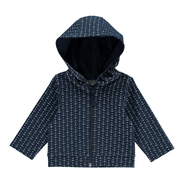 anchor jacquard hoodie, baby boy hoodie, baby boy jacket, Rachel Riley jacket, essential jacket