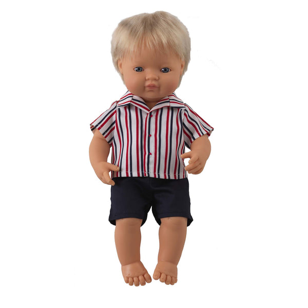 'Rocky' Boy Doll & Stripe Shirt & Short Set