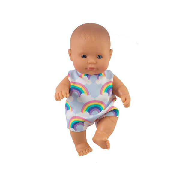 'Rex' Baby Boy Doll & Rainbow Romper